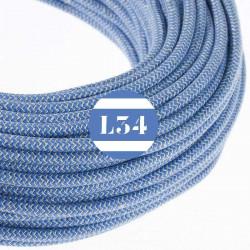 Fil �lectrique tissu ZigZag bleu et lin