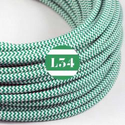 Fil �lectrique tissu ZigZag vert et blanc