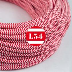 Fil �lectrique tissu ZigZag rouge et blanc