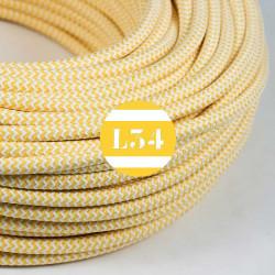 Fil �lectrique tissu ZigZag jaune et blanc