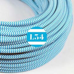 Fil �lectrique tissu ZigZag turquoise et blanc