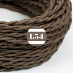 Fil �lectrique tissu torsad� marron coton
