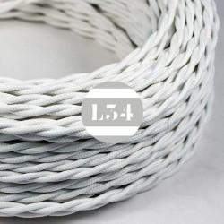 Fil �lectrique tissu torsad� blanc soie