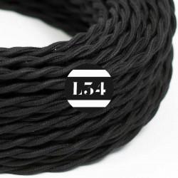 Fil �lectrique torsad� noir en coton