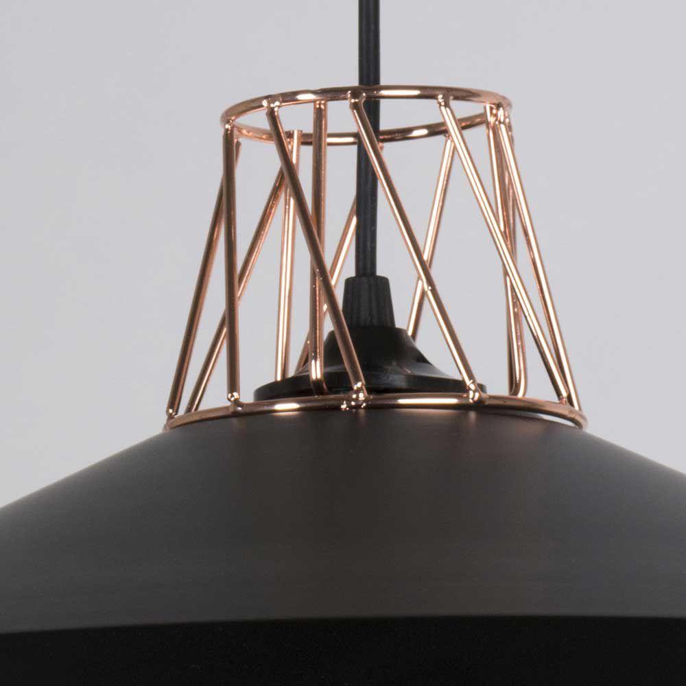 suspension contemporaine noire mat et cuivre. Black Bedroom Furniture Sets. Home Design Ideas
