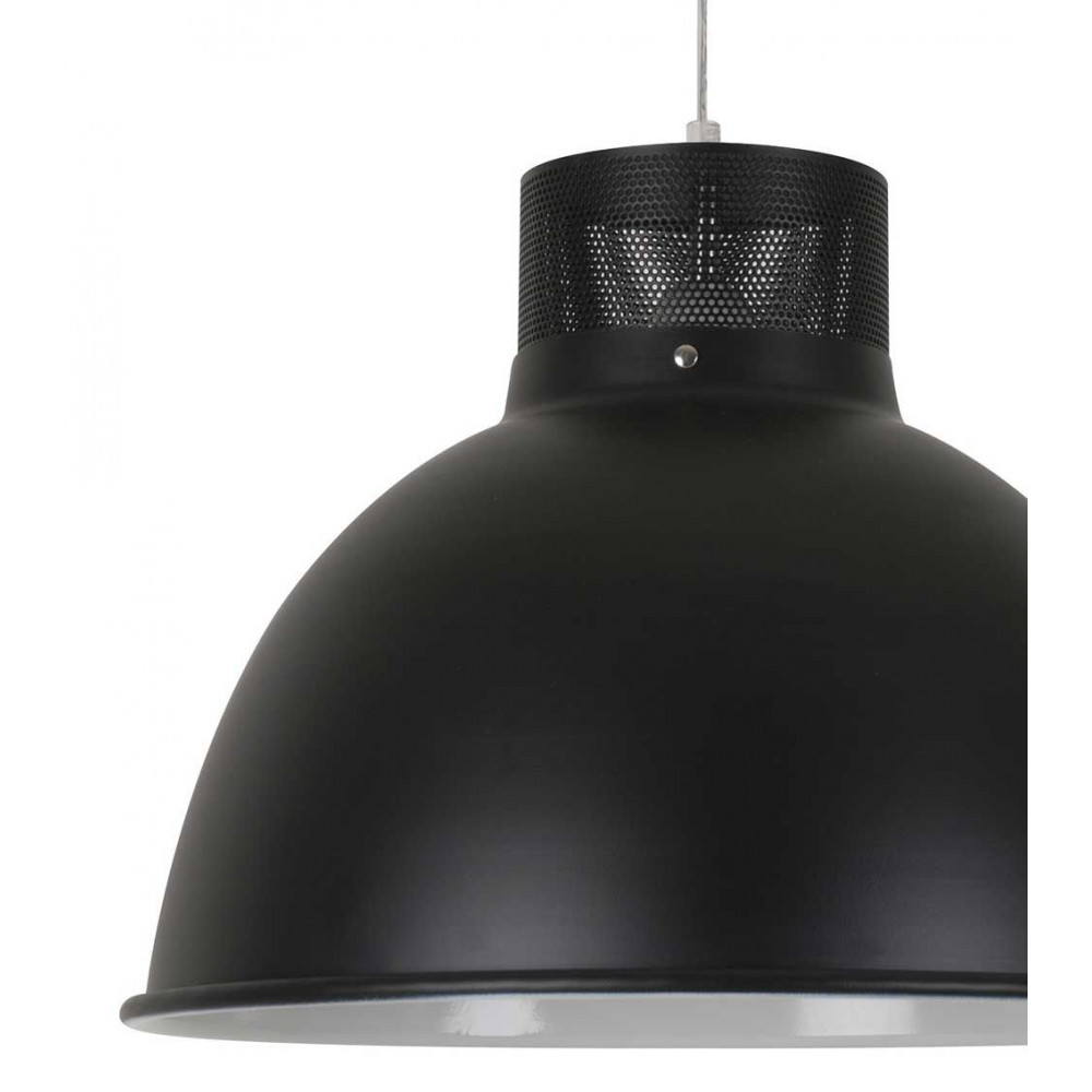 Luminaire m tal noir mat style industriel for Suspension metal noir