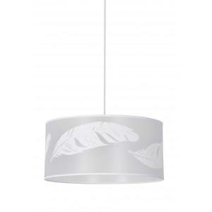 luminaire cylindrique blanc et dessin de plumes. Black Bedroom Furniture Sets. Home Design Ideas