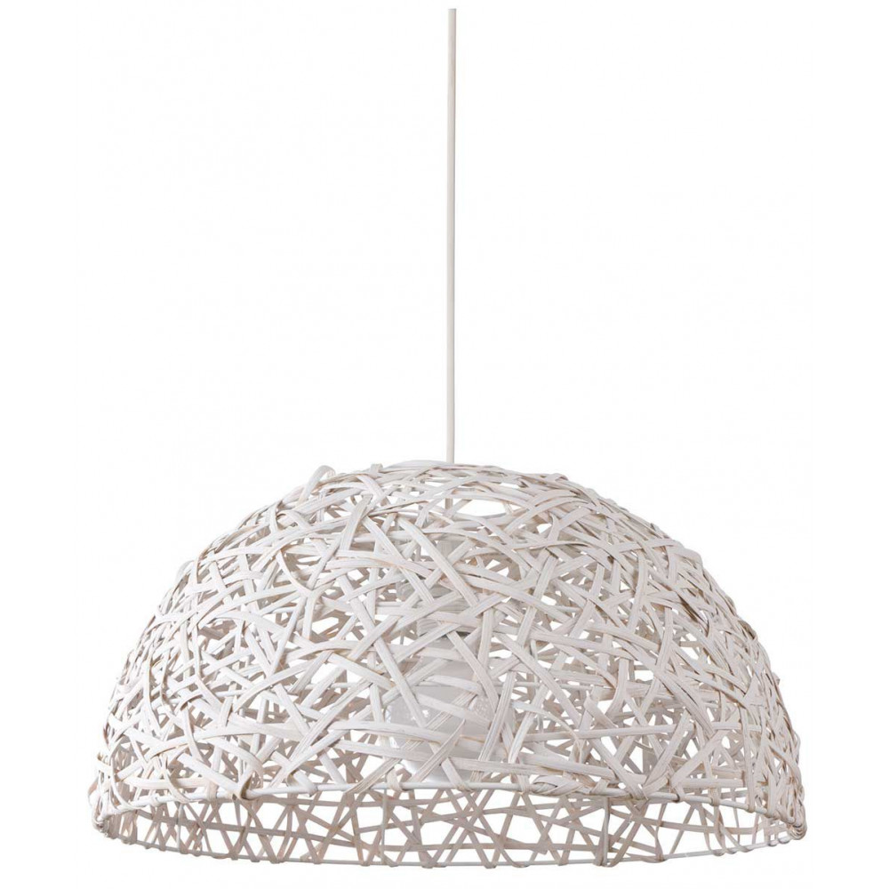 Luminaire contemporain en rotin blanc for Suspension blanche design