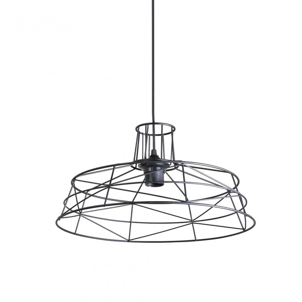 Suspension noire moderne en fil de m tal for Suspension luminaire filaire