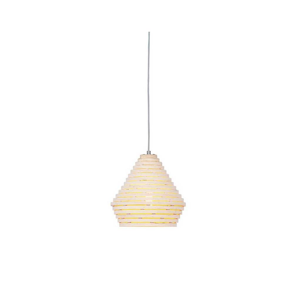 Luminaire en lamelles de bois suspendre for Lampe suspension en bois