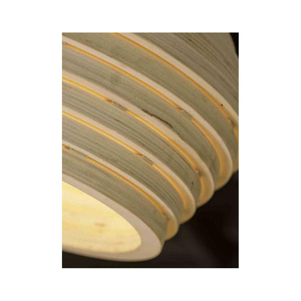 Luminaire en lamelles de bois suspendre for Luminaire exterieur bois