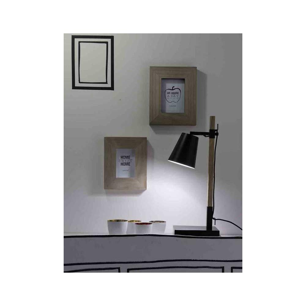 Lampe style nordique bois et m tal noir - Lampe de bureau bois ...