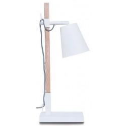 Lampe bois et métal blanc