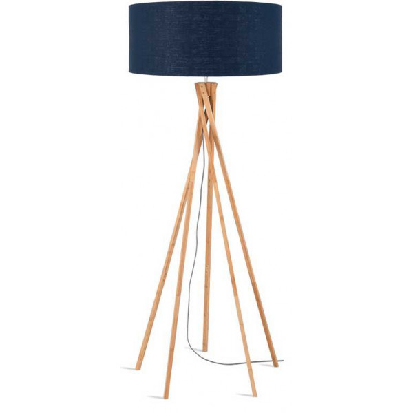 lampadaire tr pied bambou abat jour bleu. Black Bedroom Furniture Sets. Home Design Ideas