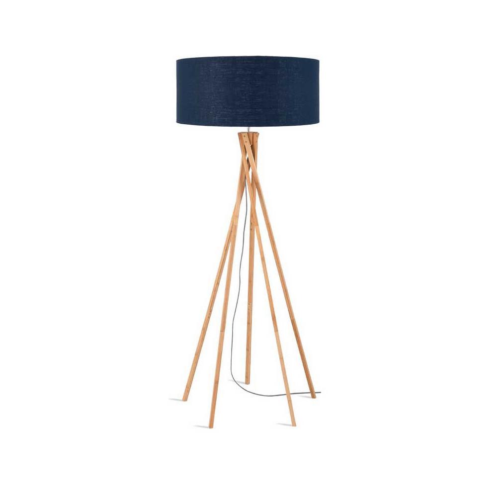 lampadaire tr pied bambou abat jour bleu. Black Bedroom Furniture Sets. Home Design Ideas