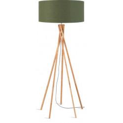 Lampadaire abat-jour vert en bambou