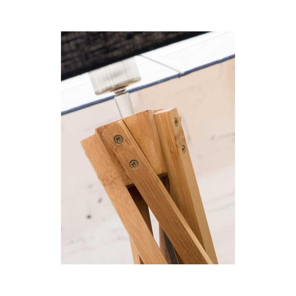 lampadaire trépied bambou abat-jour bleu