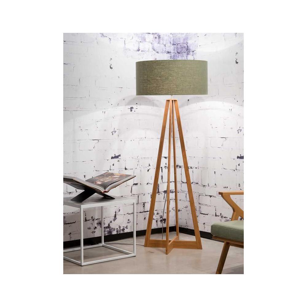 lampadaire bambou abat jour lin vert fonc. Black Bedroom Furniture Sets. Home Design Ideas