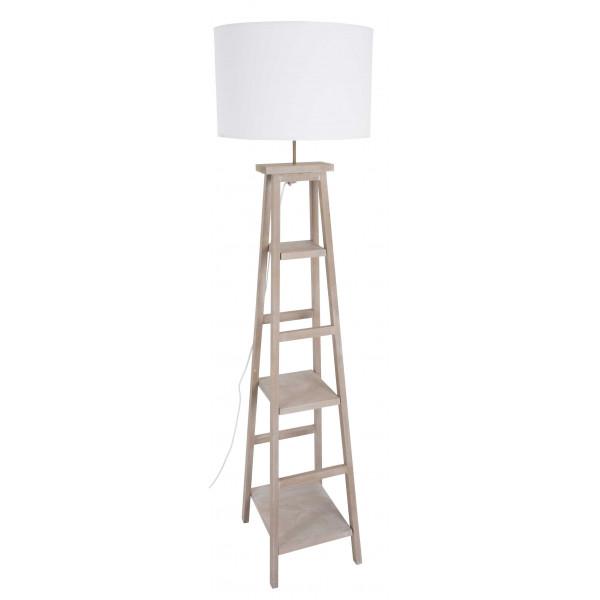 luminaire salon en bois avec tag re. Black Bedroom Furniture Sets. Home Design Ideas