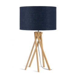 Lampe bleue pied bambou