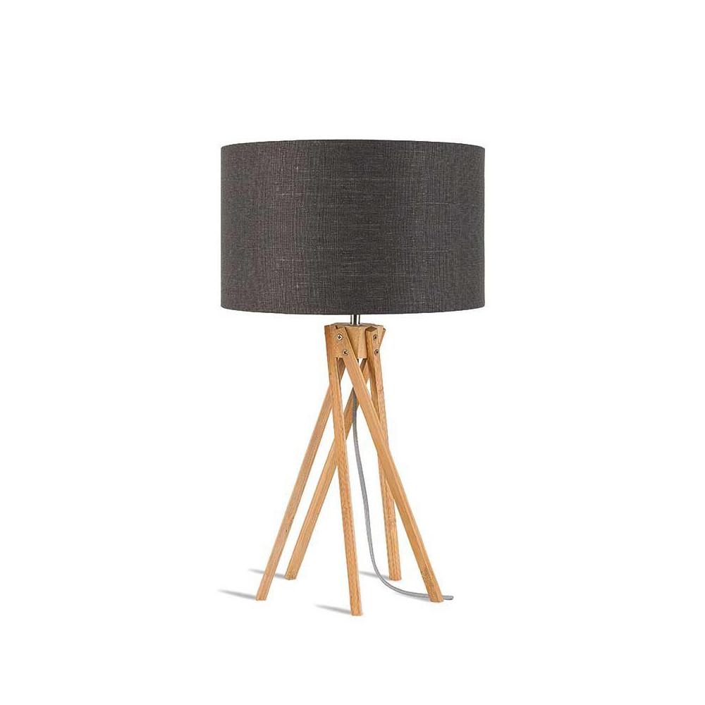 Lampe grise en lin et bambou - Abat jour bambou ...