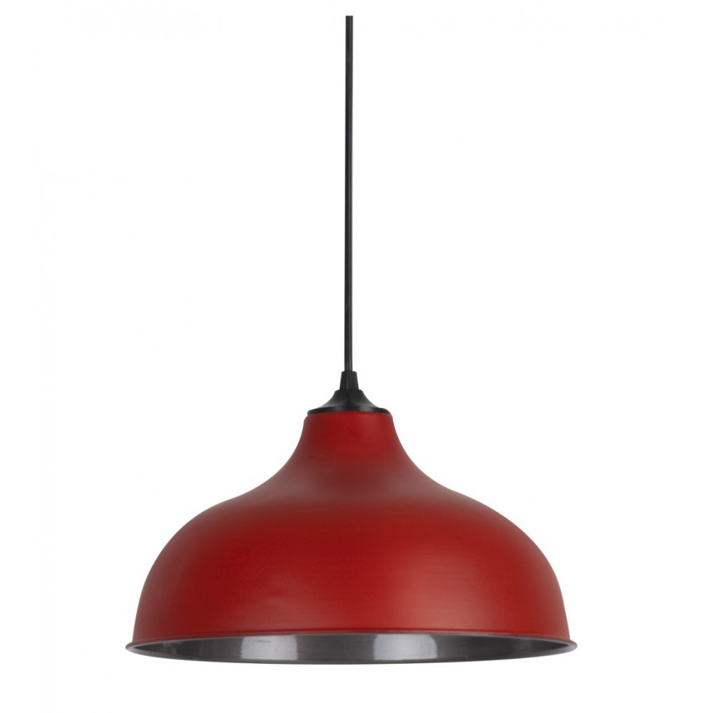 Suspension r tro rouge luminaire suspension m tal for Suspension rouge