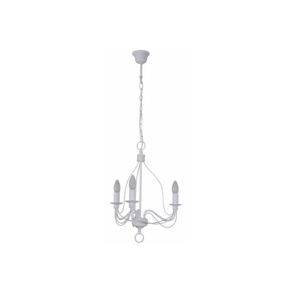 Lustre blanc en m tal luminaire suspension sur lampe avenue for Lustre en suspension