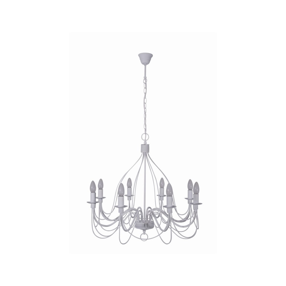 Lustre blanc en m tal luminaire suspension sur lampe avenue for Lustre 3 suspensions