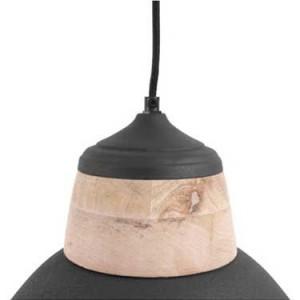 Suspension noire en métal et bois