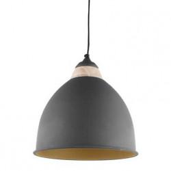 Suspension noire et dorée en métal et bois