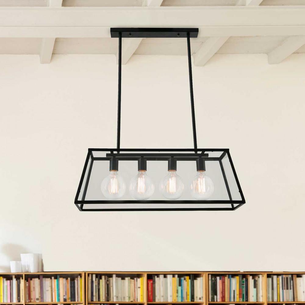 grande suspension rectangulaire m tal et verre esprit loft. Black Bedroom Furniture Sets. Home Design Ideas