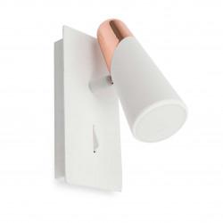 Applique LED design blanche et cuivre avec interrupteur