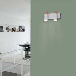 Applique double couloir design blanche et cuivre