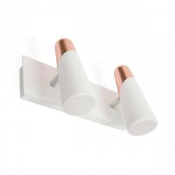 Applique double spot LED design blanche et cuivre