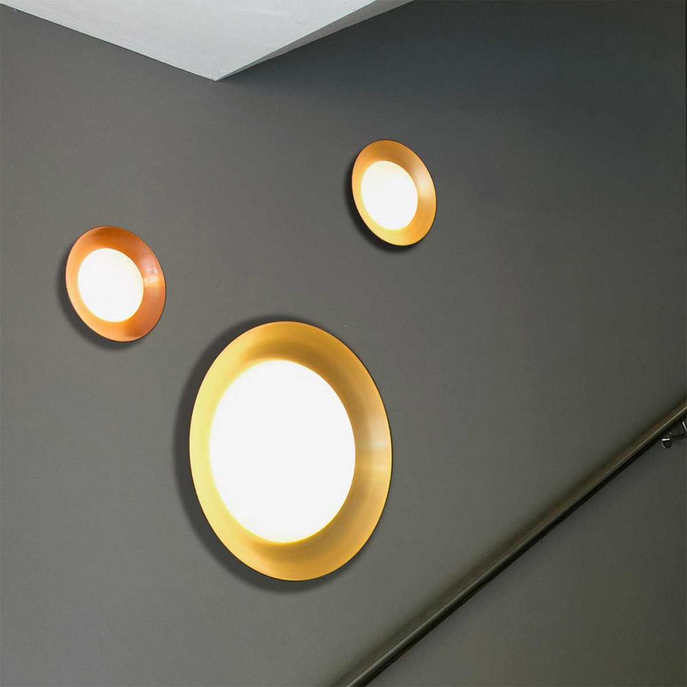 plafonnier rond ou applique noir et cuivre. Black Bedroom Furniture Sets. Home Design Ideas