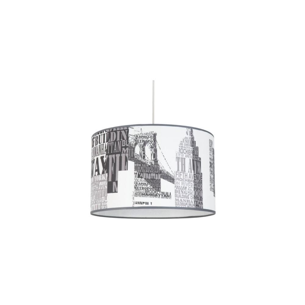 Suspension abat jour imprim buildings luminaire enfant ado - Lustre suspension new york ...