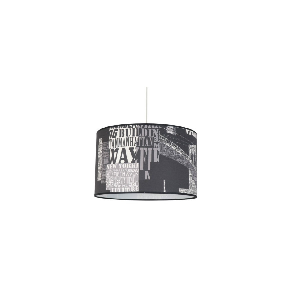 Suspension abat jour imprim buildings luminaire enfant ado for Lampe suspension chambre ado