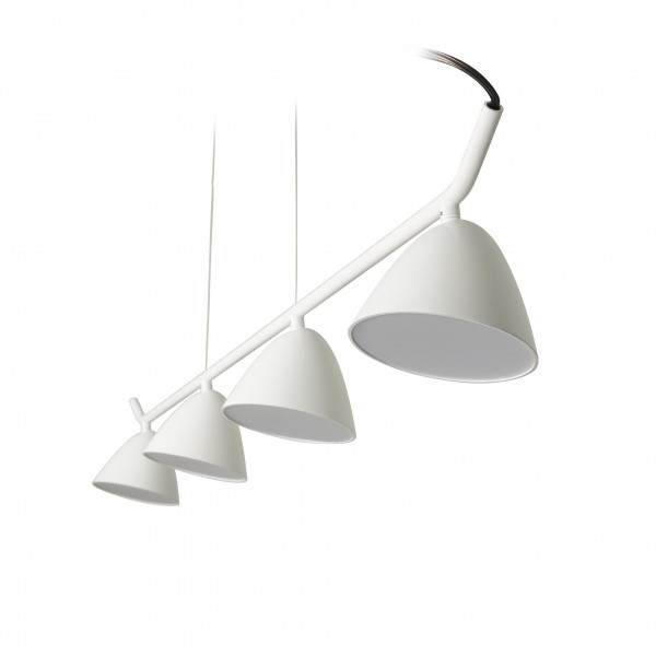 Suspension design blanche rampe 4 spots