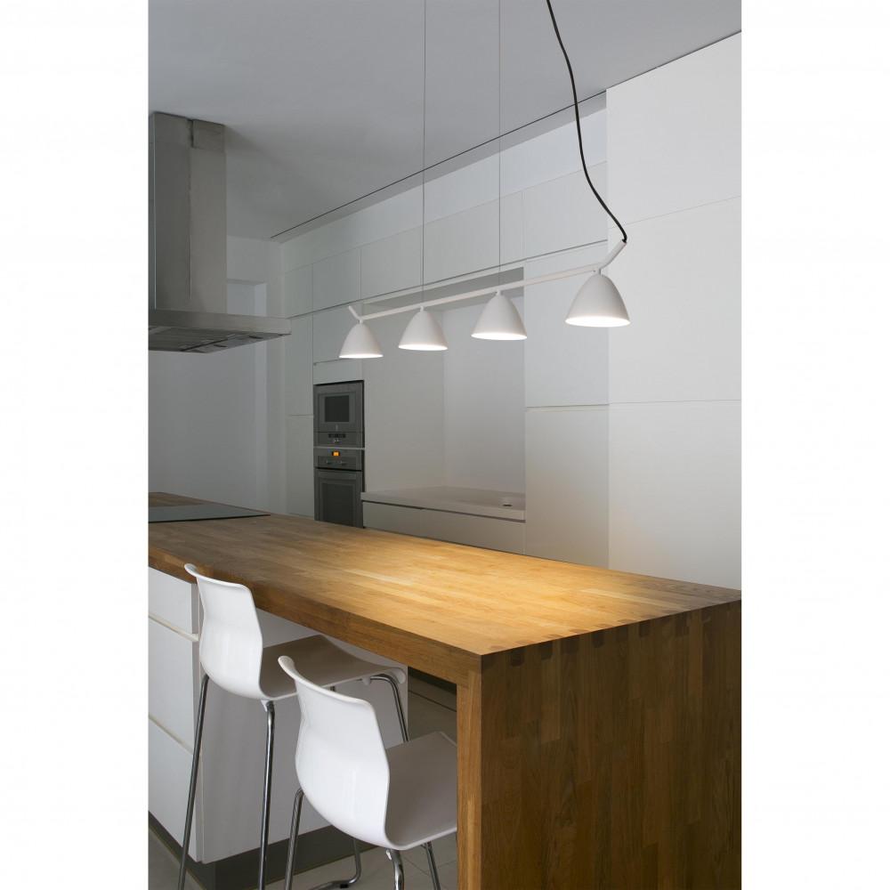 suspension blanche rampe  spots pour table cuisine
