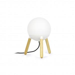 Lampe inspiration nordique en bois et verre blanc