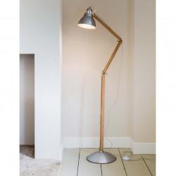 Lampadaire articulé en aluminium et bois