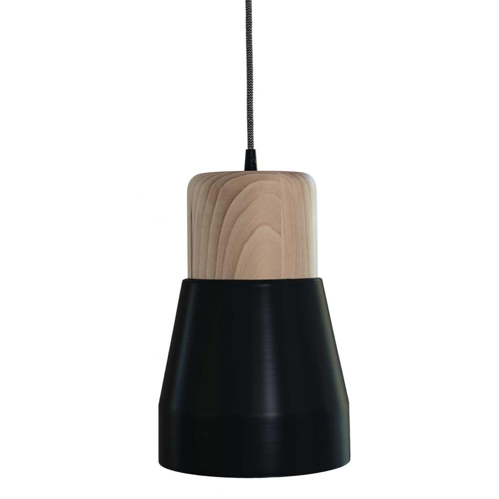 suspension bois et m tal noir. Black Bedroom Furniture Sets. Home Design Ideas