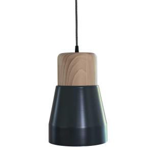 lampe bois et métal gris