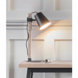 Lampe de bureau métal et bois
