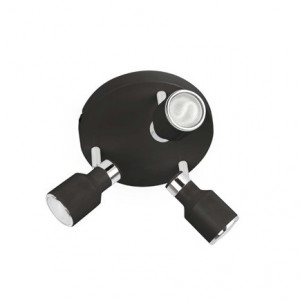 Plafonier triple spot chromé noir ou blanc