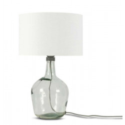 Lampe en verre abat-jour blanc