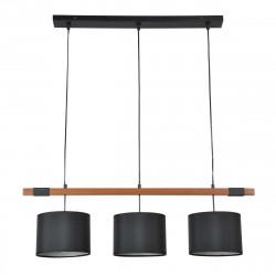 Suspension 3 abats-jour noir et bois