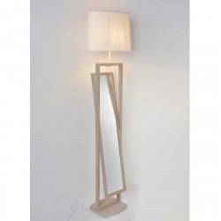 Lampadaire miroir en bois