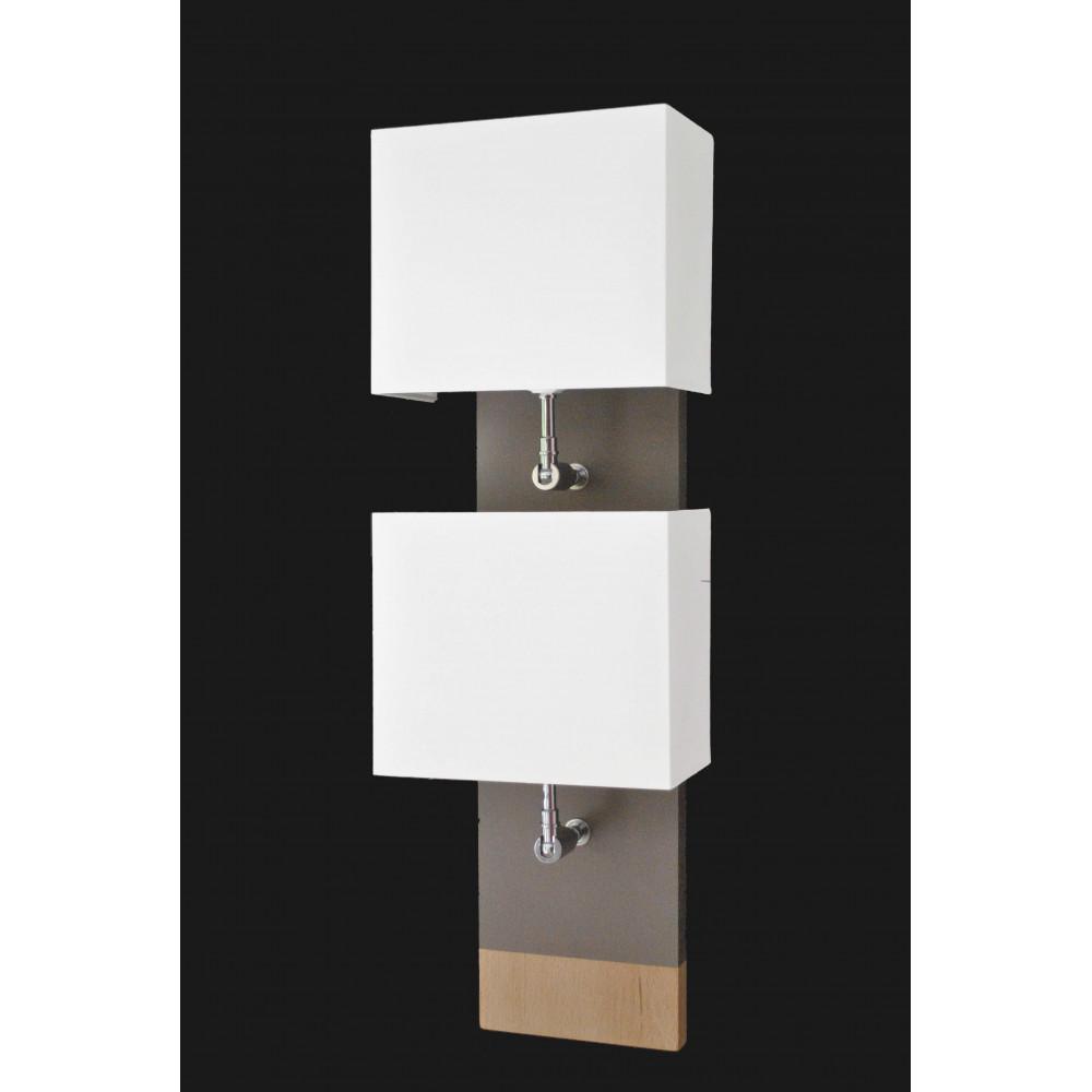 applique murale bois double abat jour achat luminaire marque l34 bois. Black Bedroom Furniture Sets. Home Design Ideas