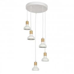 Suspension 5 lampes blanches et bois